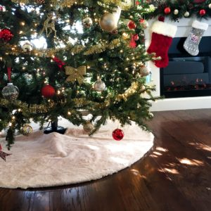 Easy, No-Sew Faux Fur Christmas Tree Skirt